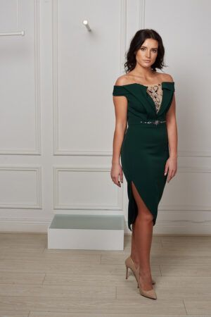 Forest green double-collared bardot pencil dress with slit and jewel embellished mesh panel
