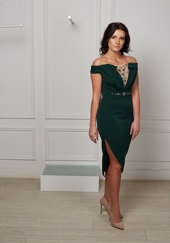 Model wearing Phoenix V Jill pencil occasion dress