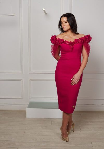 Cerise pink pencil dress with dramatic flower detail and mesh drape sleeve effect