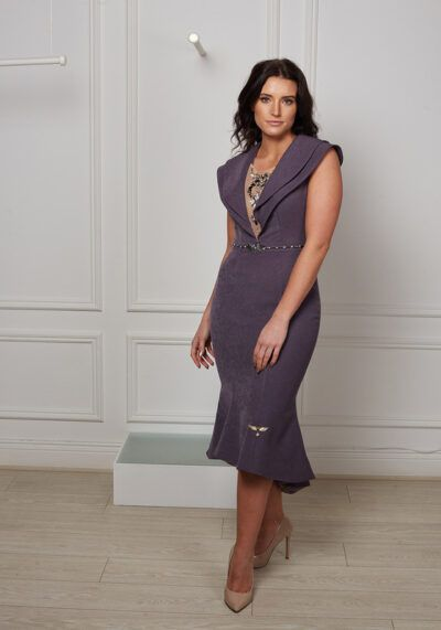 Charcoal shimmer high-low sleeveless fishtail with double collar and jewelled mesh plunge neckline