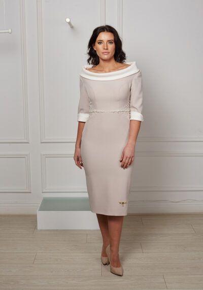 Model wears Phoenix V Kit pencil occasion dress