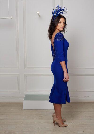 Cobalt blue beaded backless fishtail dress