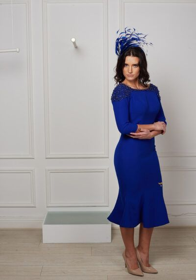 Model wearing Phoenix V Biance fishtail occasion dress