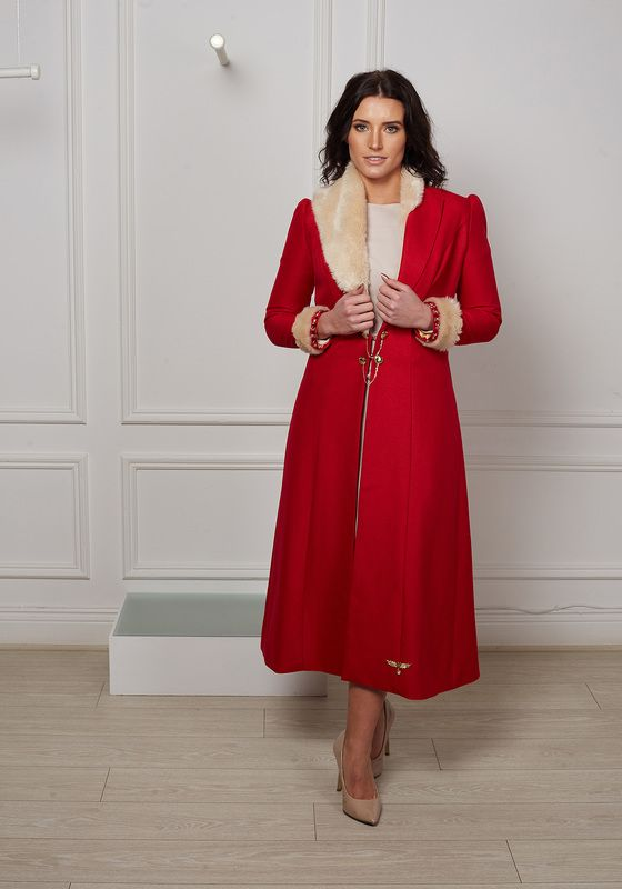 Red longline dress coat with asymmetric fur collar