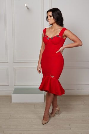 Bright red boned fishtail dress with silver jewelled bustier effect and thick straps