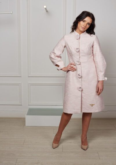 Phoenix_V pale pink tweed Auxa dress coat with flower and pearl buttons