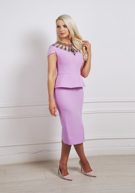 Lilac peplum pencil dress with cap sleeve and elaborate jeweling at the neckline