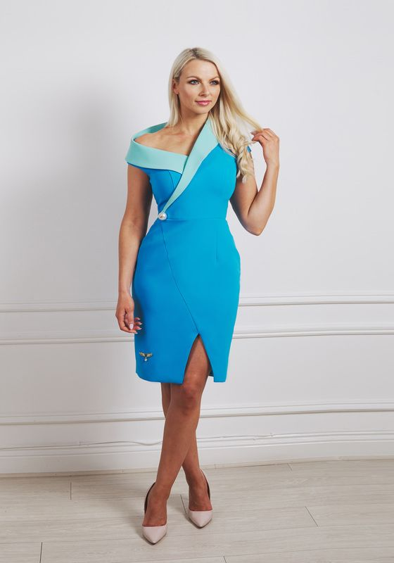 Mint green and sky blue contrast mini dress with asymmetric collar and large pearl at the waist