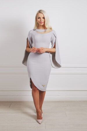 Grey cape sleeve pencil dress with curved hem, slit and beaded mesh cutout