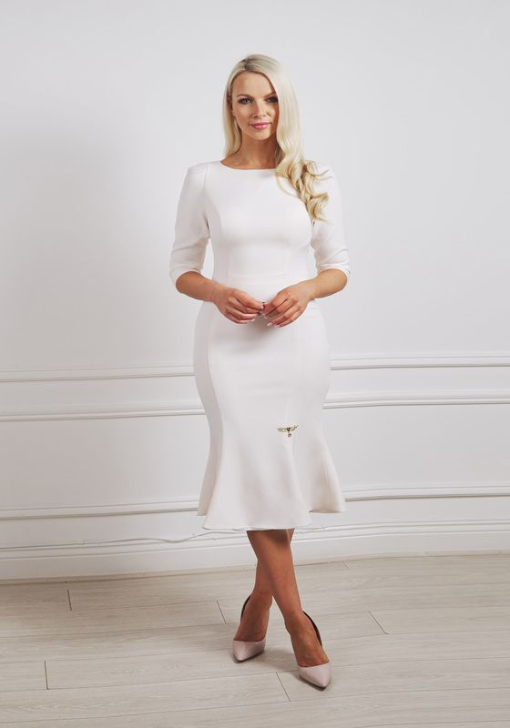 Cream structured shoulder boat neck fishtail dress with elbow length sleeves