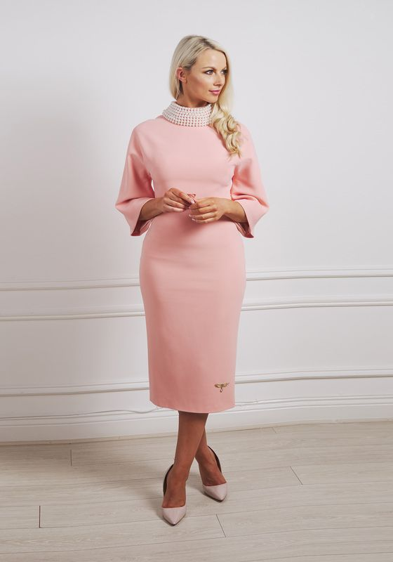 Peach pencil two-piece with high pearl collar and wide sleeves