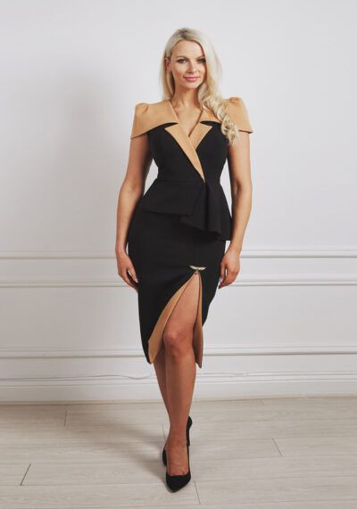 Black peplum pencil dress with camel tuxedo style collar and slit