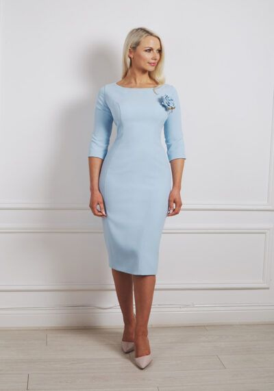 Pale blue pencil dress with rose detail