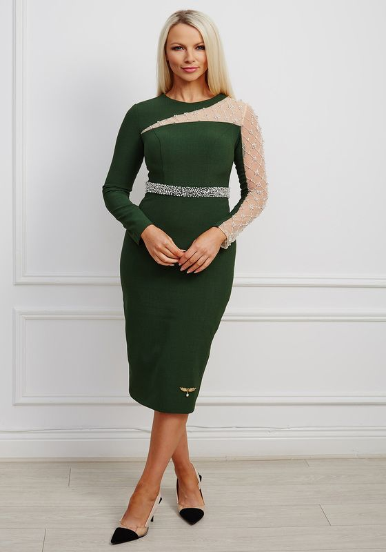 Green pencil dress with mesh pearl-embellished sleeve and matching embellished waistband