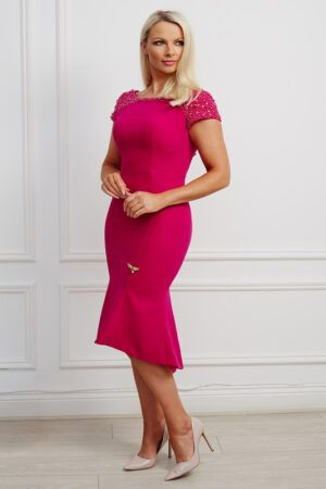 Cerise pink low-back beaded high-low fishtail dress with cap sleeves