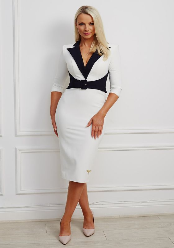 Ivory pencil dress with navy collar and belt detailing