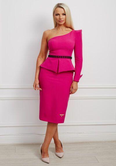 Cerise one-shoulder peplum pencil dress with pointed shoulder and black embellished belt