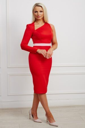 Red one sleeved pencil dress with asymmetric neckline, back cutout and contrast waistband