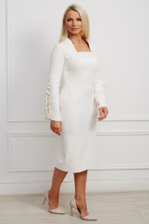 Cream split sleeve pearl embellished pencil dress with square neckline and high collar