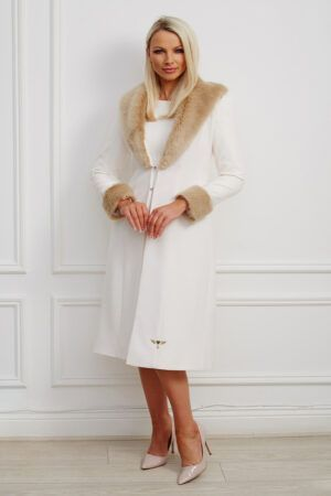 Imie coat - ivory dress coat with light brown fur collar and cuffs and pearl detailing