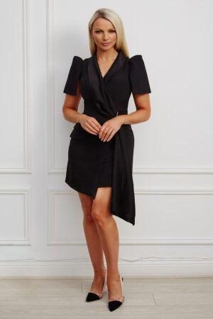 Black satin contrast drape tuxedo mini dress