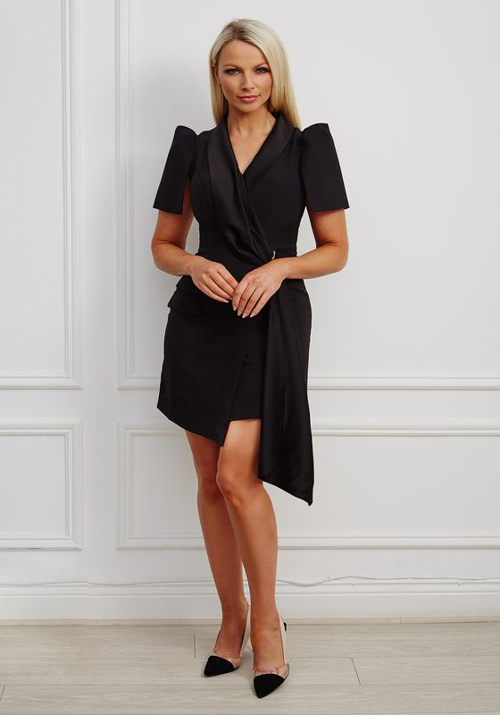 Black satin contrast drape tuxedo mini dress