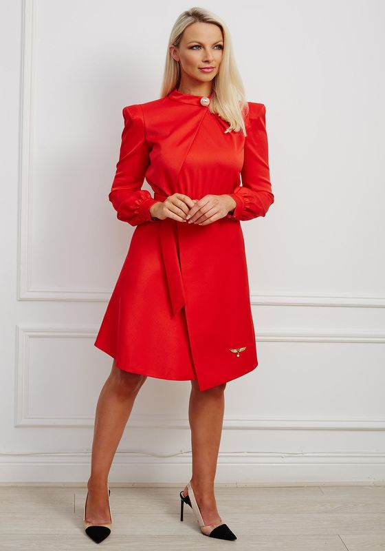 Red satin blouse a-line dress with pearl at neck