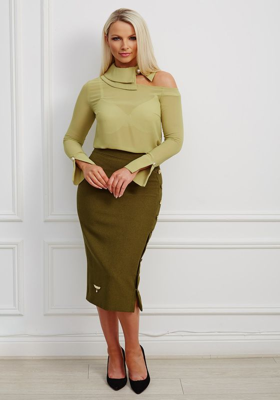 Contrasting green asymmetric cutout blouse and button effect pencil skirt