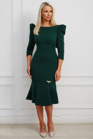 Forest green puff shoulder fishtail dress with v back and beaded lapels
