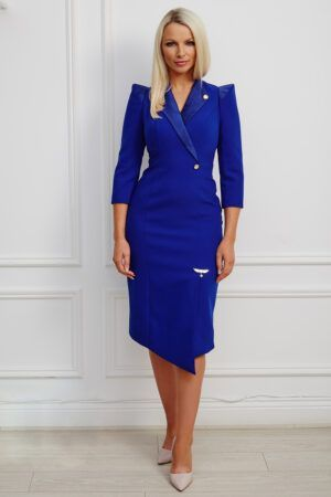 Cobalt blue tuxedo dress with pointed shoulder and asymmetric hem