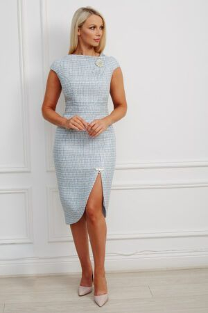 Baby blue tweed pencil dress with cap sleeve, pearl brooch and slit