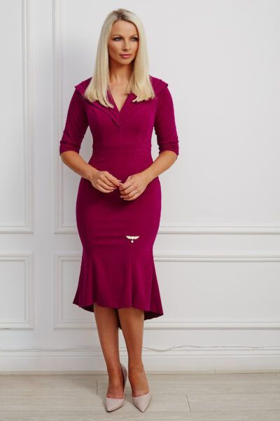 Magenta double collar high-low fishtail dress