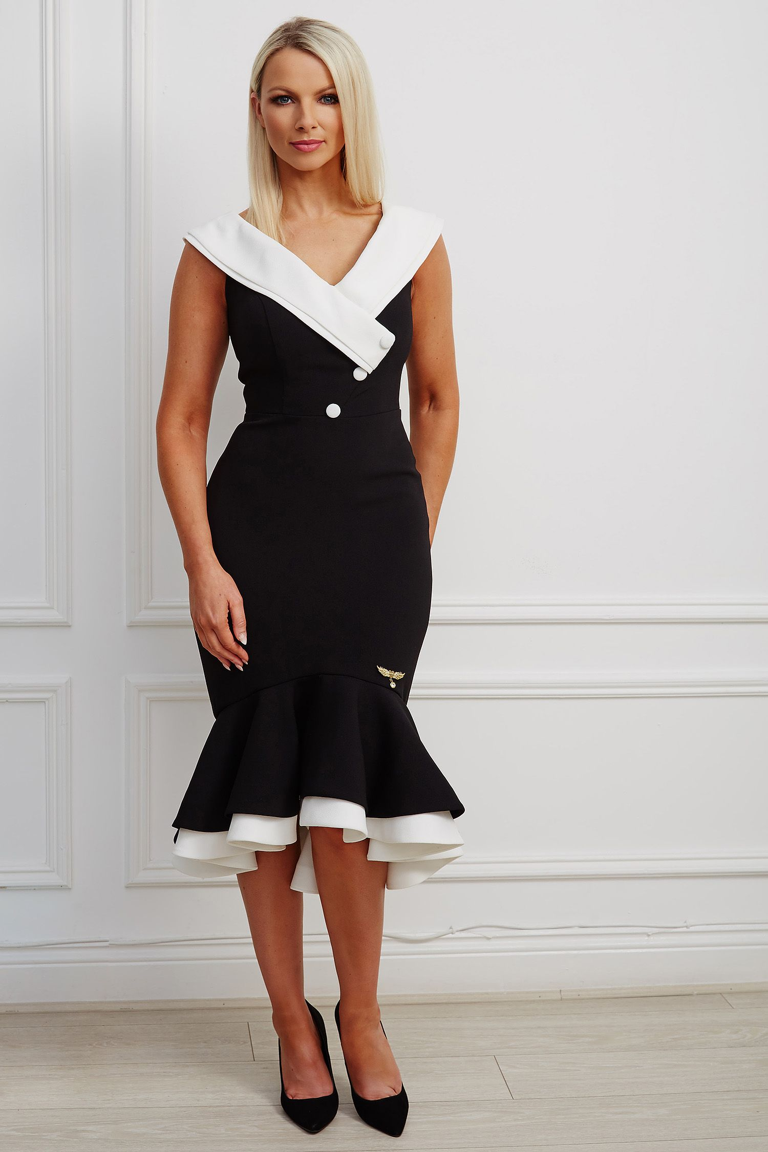 Black and white contrast double fishtail dress with bardot neckline and buttons