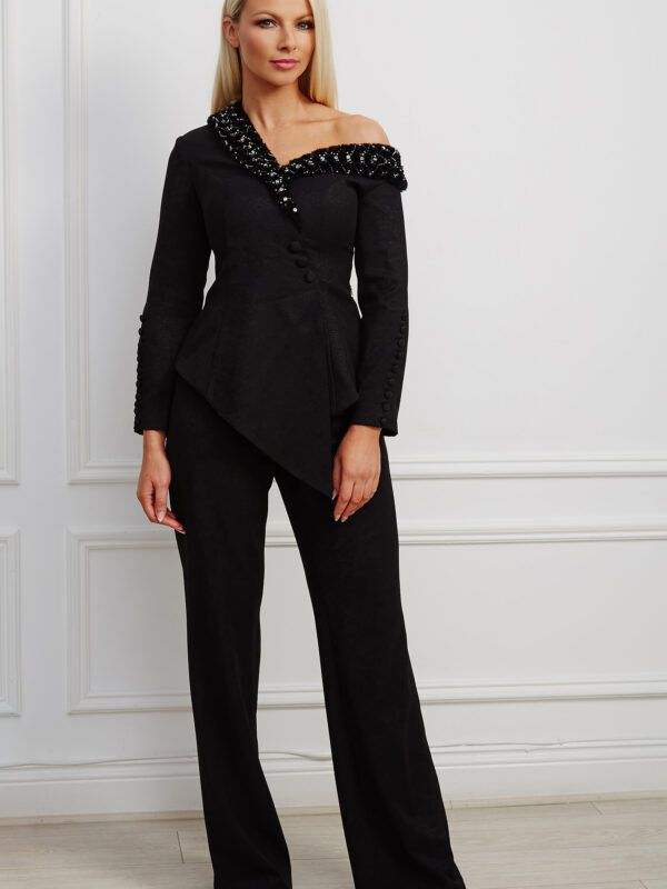 Black wide-leg trouser suit with an asymmetric fur-trimmed neckline