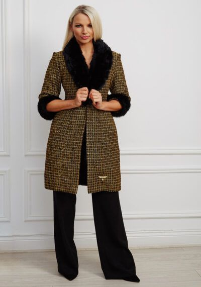 Phoenix_V Kora Coat - a statement black and gold tweed straight-fitting coat with black fur collar and cuffs