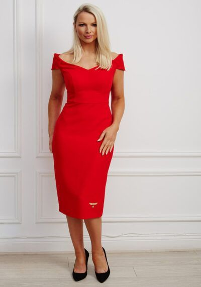Red bardot pencil dress with sweetheart neckline