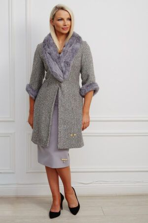 Phoenix_V Fiona Coat - Grey tweed straight-fitting coat with grey fur collar and cuffs