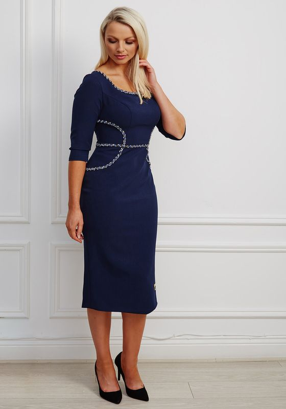 Navy round neck pencil dress with matching jewel embellishment