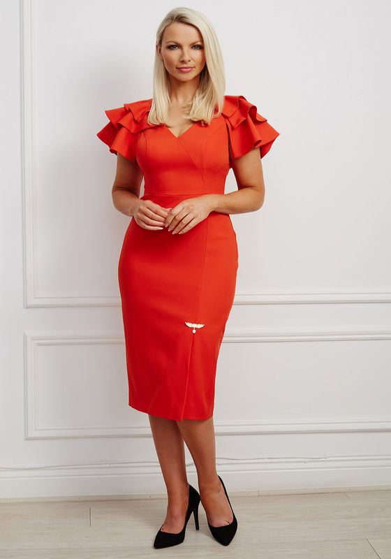 Orange-red v neck pencil dress with dramatic ruffle shoulder