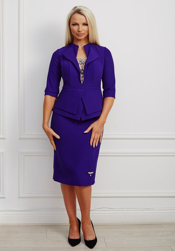 Deep purple pencil dress with double peplum, double collar and jewelled mesh insert