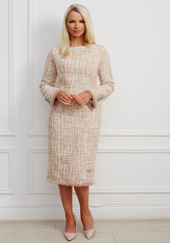 Taupe tweed pencil dress with boat neck, fluted sleeves, fur trim and bejewelled buttons