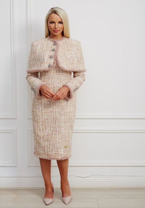 Taupe and pale pink tweed dress and cape set with mauve fur trim and jewel buttons
