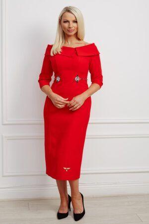 Bright red oversized collar bardot dress with jewel waist