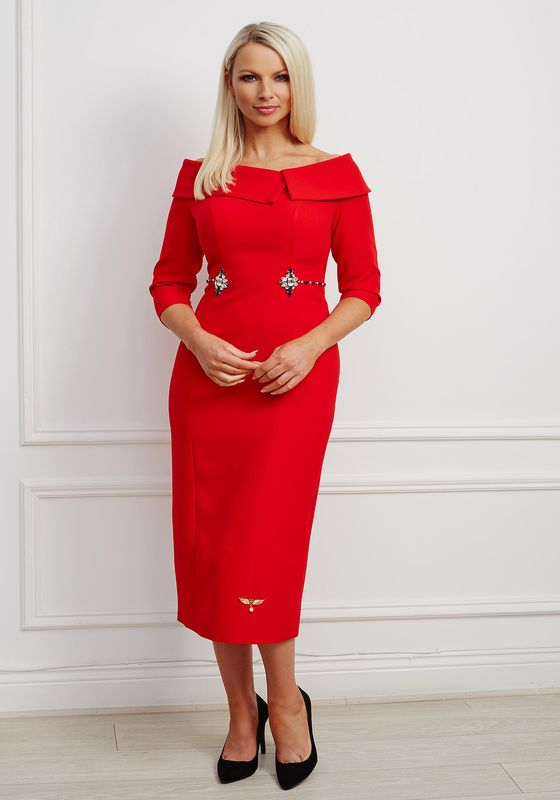 Bright red oversized collar bardot dress with jewel waist