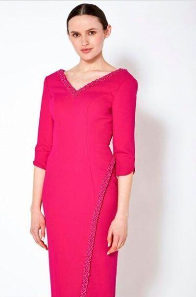 Cerise v-neck v-back pencil dress with cerise embellishment