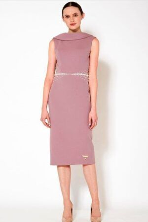 Mauve sleeveless cowl neck pencil dress with low back and ivory pearl embellished waist