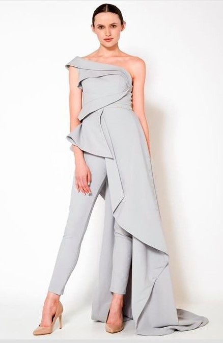 Silver grey one-shoulder jumpsuit gown with asymmetric design