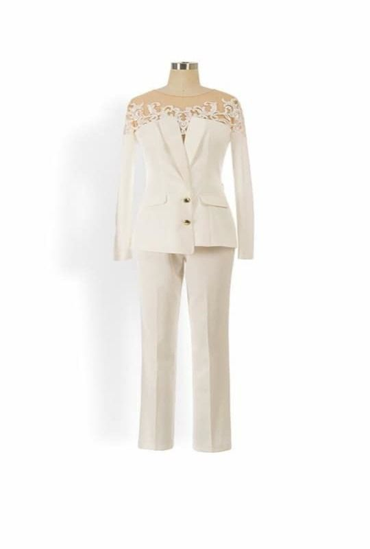 Ivory two piece suit with lace embroidered blazer and trouser