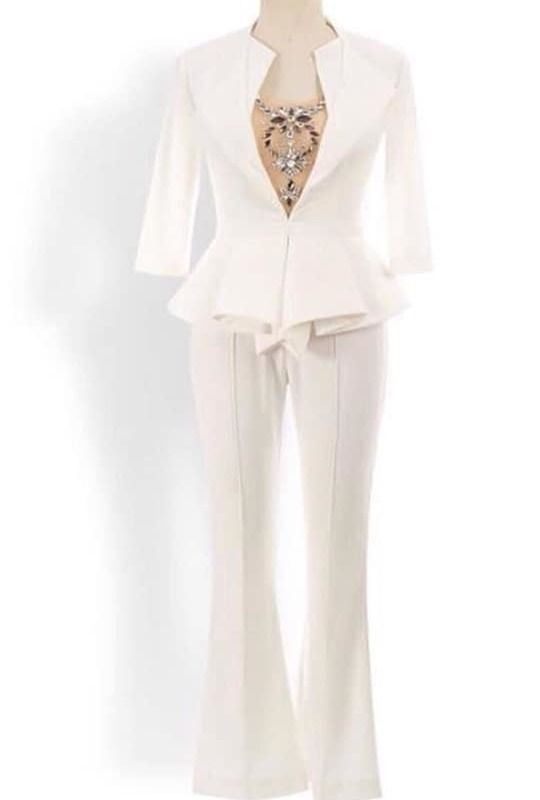 Ivory peplum trouser suit with silver jewelled mesh panel