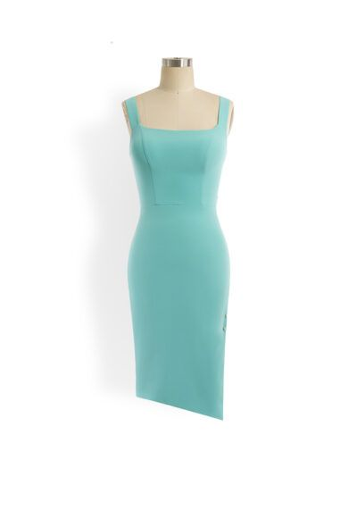 Mint green square neck pencil dress with asymmetric hem and slit with gold bar detail